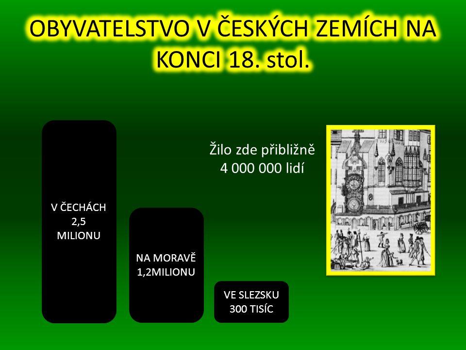 OBYVATELSTVO V ČESKÝCH ZEMÍCH NA KONCI 18. stol.