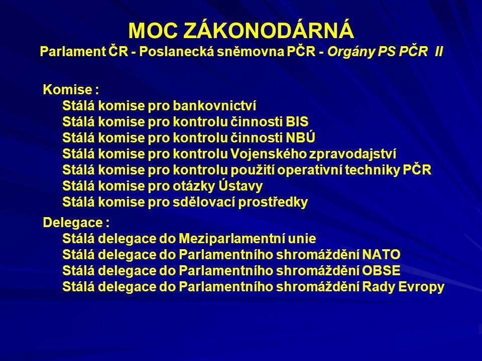 MOC ZÁKONODÁRNÁ Parlament ČR - Poslanecká sněmovna PČR - Orgány PS PČR II