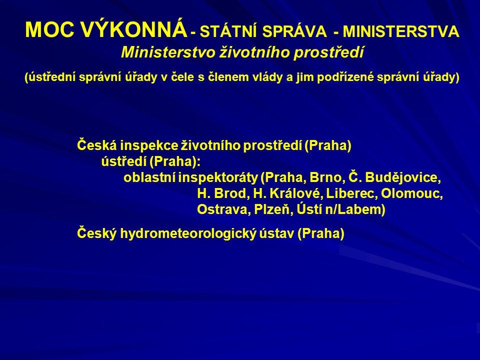 MOC VÝKONNÁ - STÁTNÍ SPRÁVA - MINISTERSTVA Ministerstvo životního prostředí (ústřední správní úřady v čele s členem vlády a jim podřízené správní úřady)