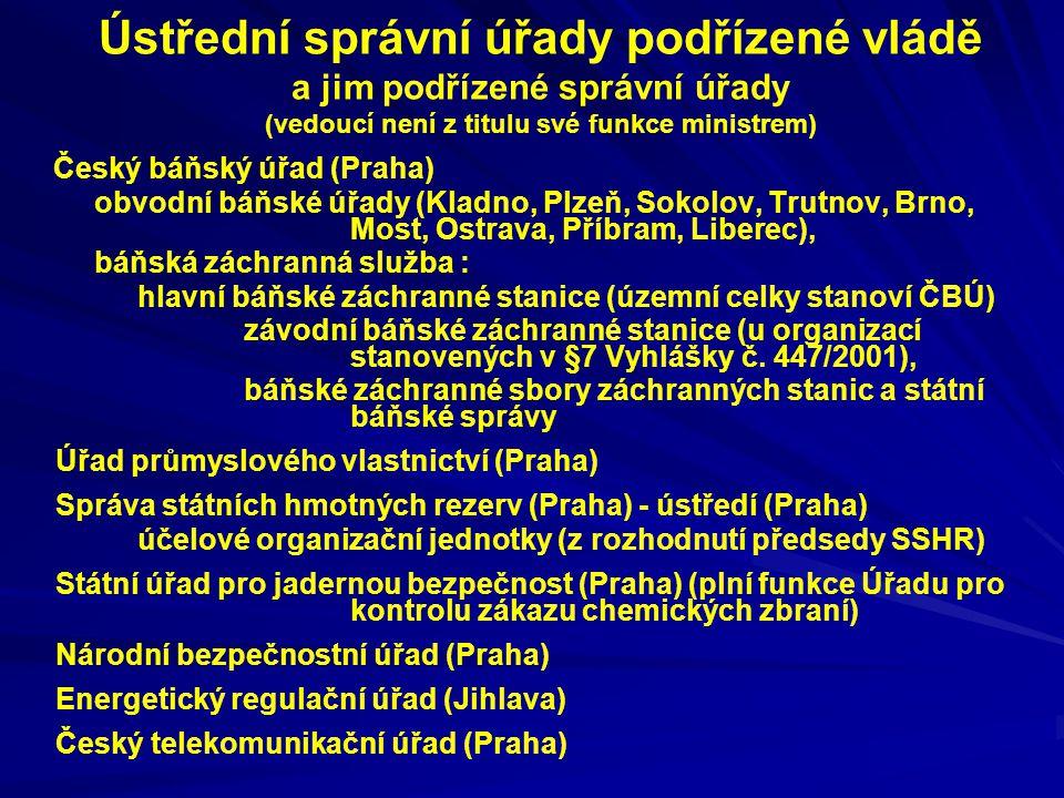 Ústřední správní úřady podřízené vládě a jim podřízené správní úřady (vedoucí není z titulu své funkce ministrem)