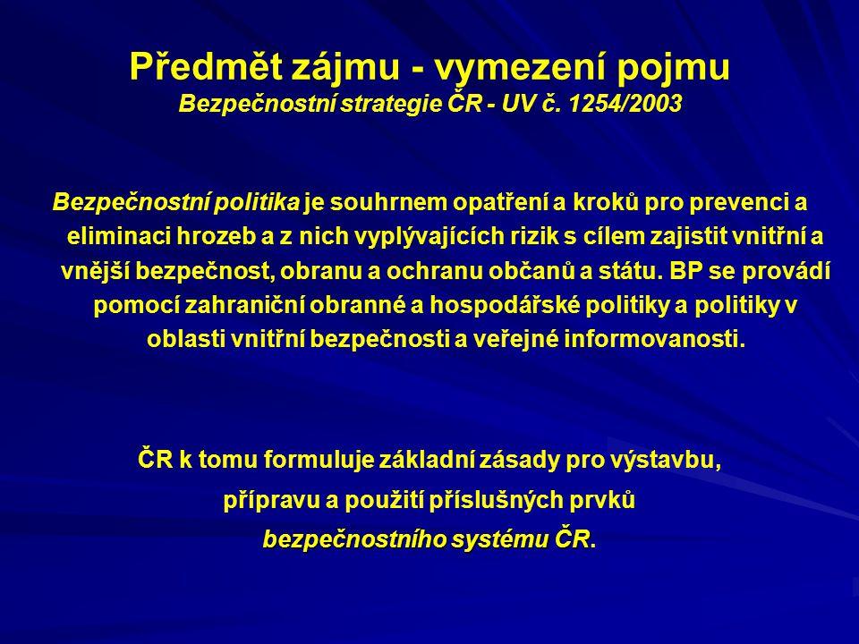 Předmět zájmu - vymezení pojmu Bezpečnostní strategie ČR - UV č