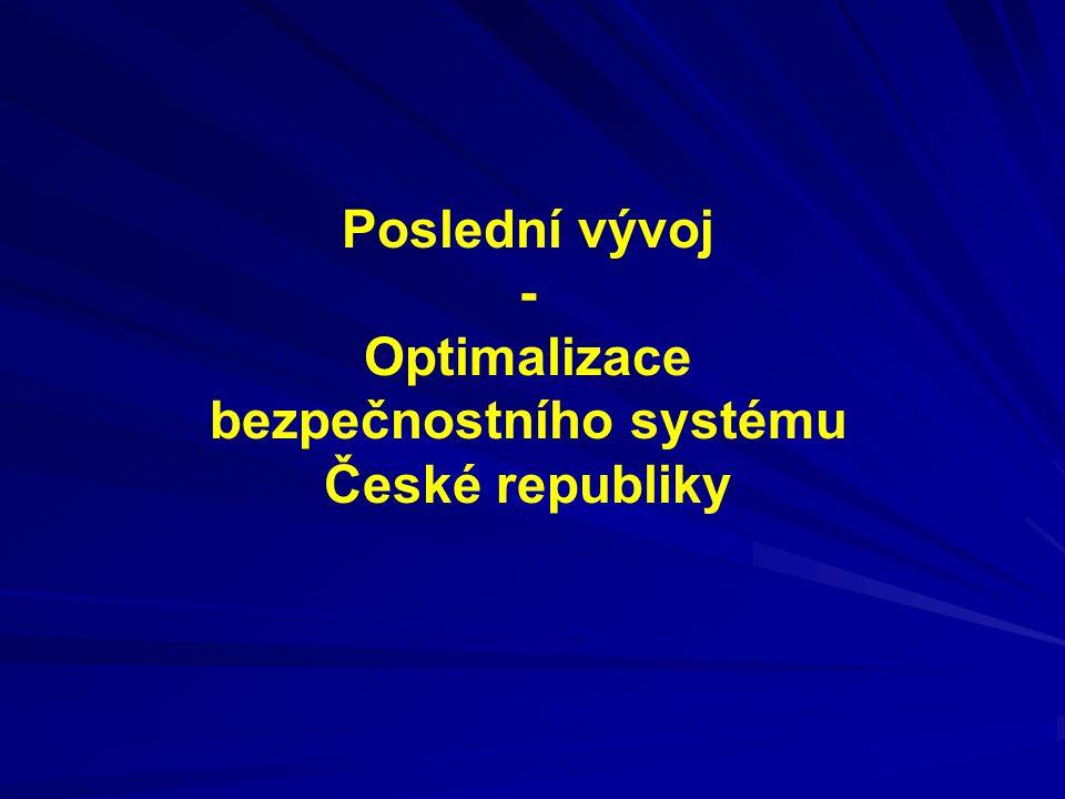 Poslední vývoj - Optimalizace bezpečnostního systému České republiky