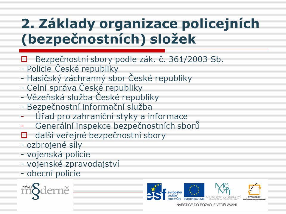 2. Základy organizace policejních (bezpečnostních) složek