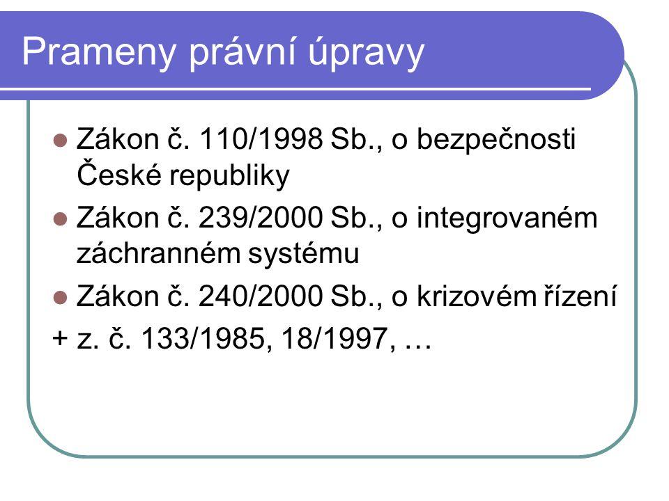Prameny právní úpravy Zákon č. 110/1998 Sb., o bezpečnosti České republiky. Zákon č. 239/2000 Sb., o integrovaném záchranném systému.
