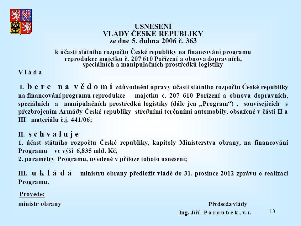 USNESENÍ VLÁDY ČESKÉ REPUBLIKY ze dne 5. dubna 2006 č. 363