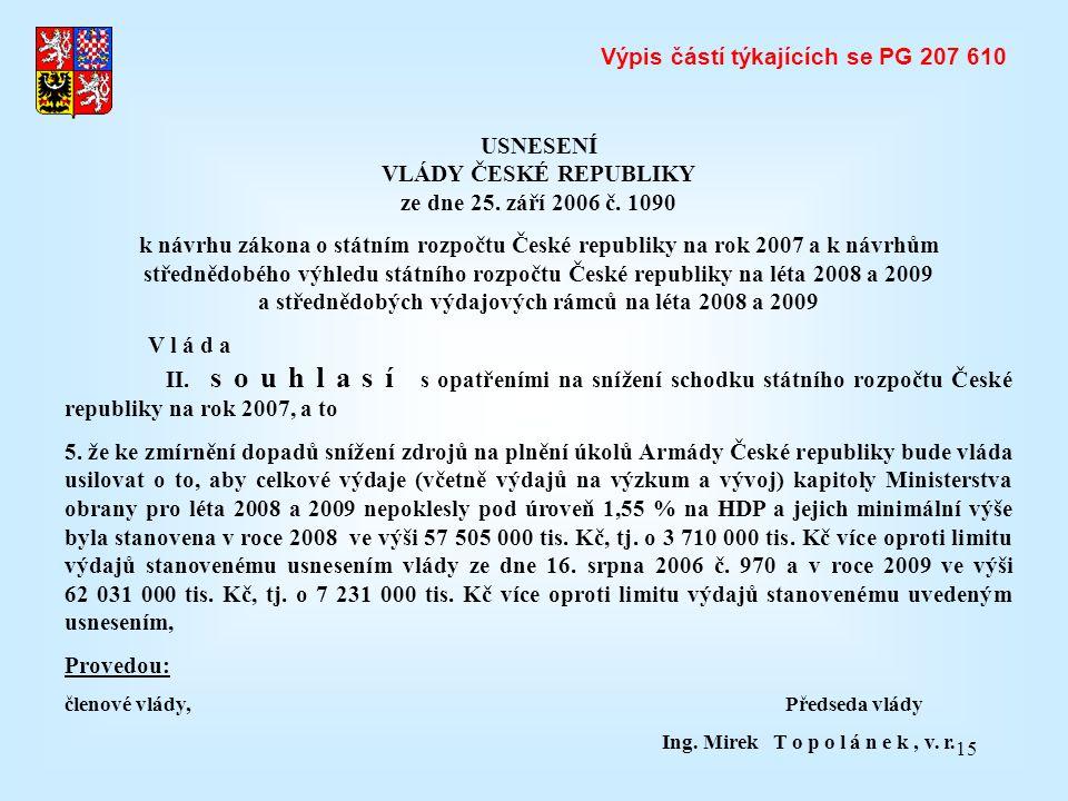 Výpis částí týkajících se PG 207 610