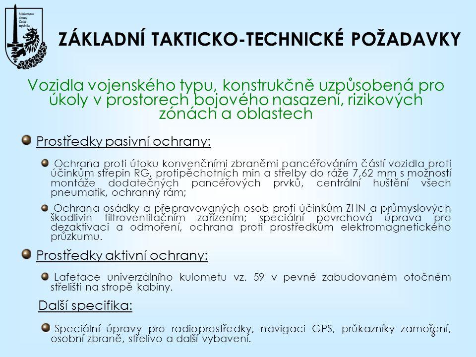 ZÁKLADNÍ TAKTICKO-TECHNICKÉ POŽADAVKY
