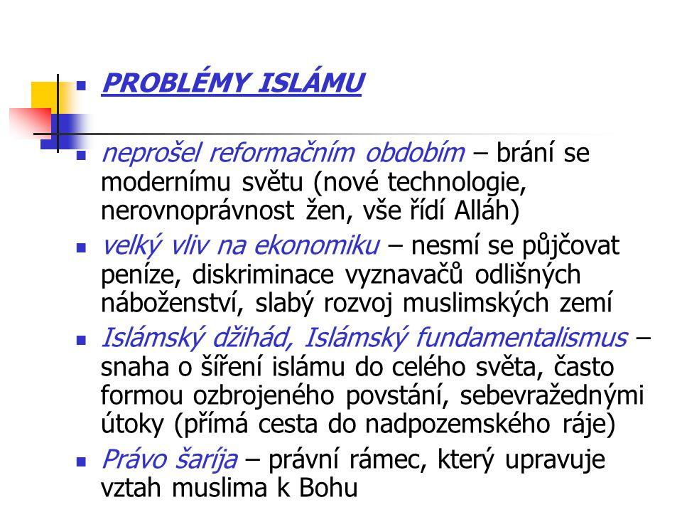PROBLÉMY ISLÁMU neprošel reformačním obdobím – brání se modernímu světu (nové technologie, nerovnoprávnost žen, vše řídí Alláh)