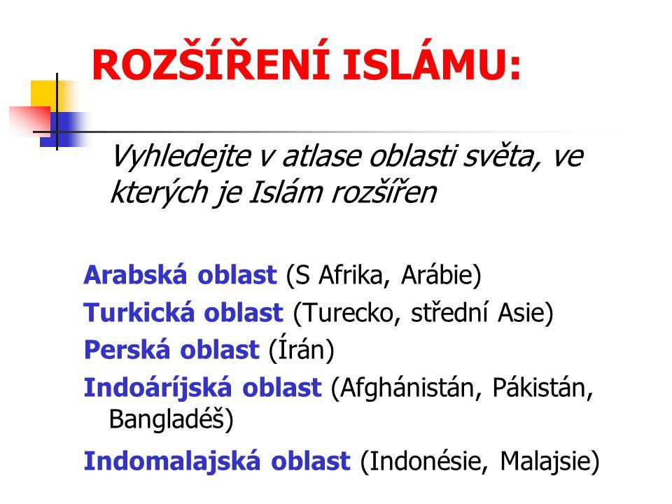 ROZŠÍŘENÍ ISLÁMU: Vyhledejte v atlase oblasti světa, ve kterých je Islám rozšířen. Arabská oblast (S Afrika, Arábie)