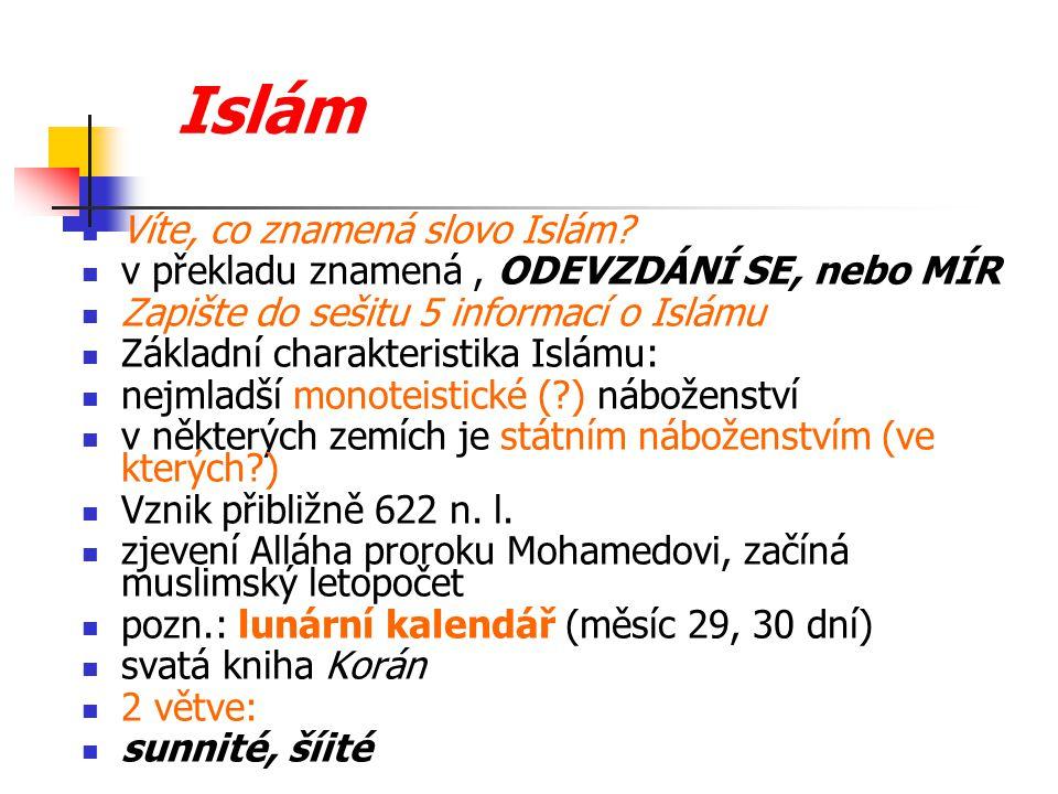 Islám Víte, co znamená slovo Islám