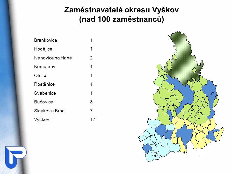 Zaměstnavatelé okresu Vyškov (nad 100 zaměstnanců)