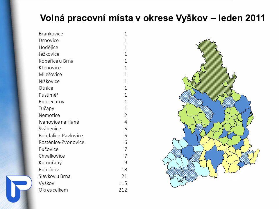 Volná pracovní místa v okrese Vyškov – leden 2011