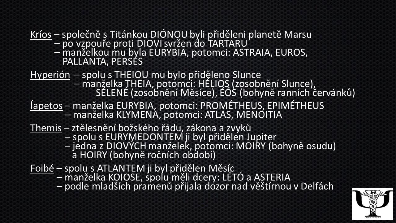 Kríos – společně s Titánkou DIÓNOU byli přiděleni planetě Marsu – po vzpouře proti DIOVI svržen do TARTARU – manželkou mu byla EURYBIA, potomci: ASTRAIA, EUROS, PALLANTA, PERSÉS