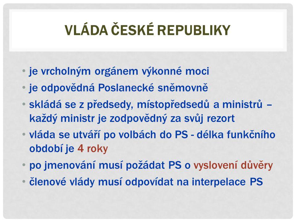 Vláda české republiky je vrcholným orgánem výkonné moci
