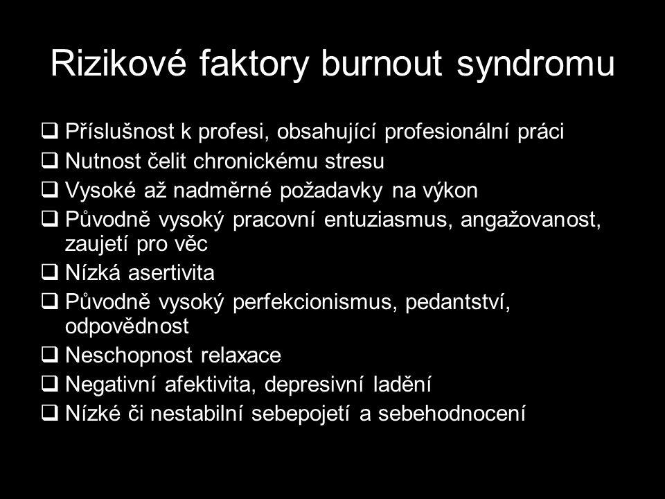 Rizikové faktory burnout syndromu