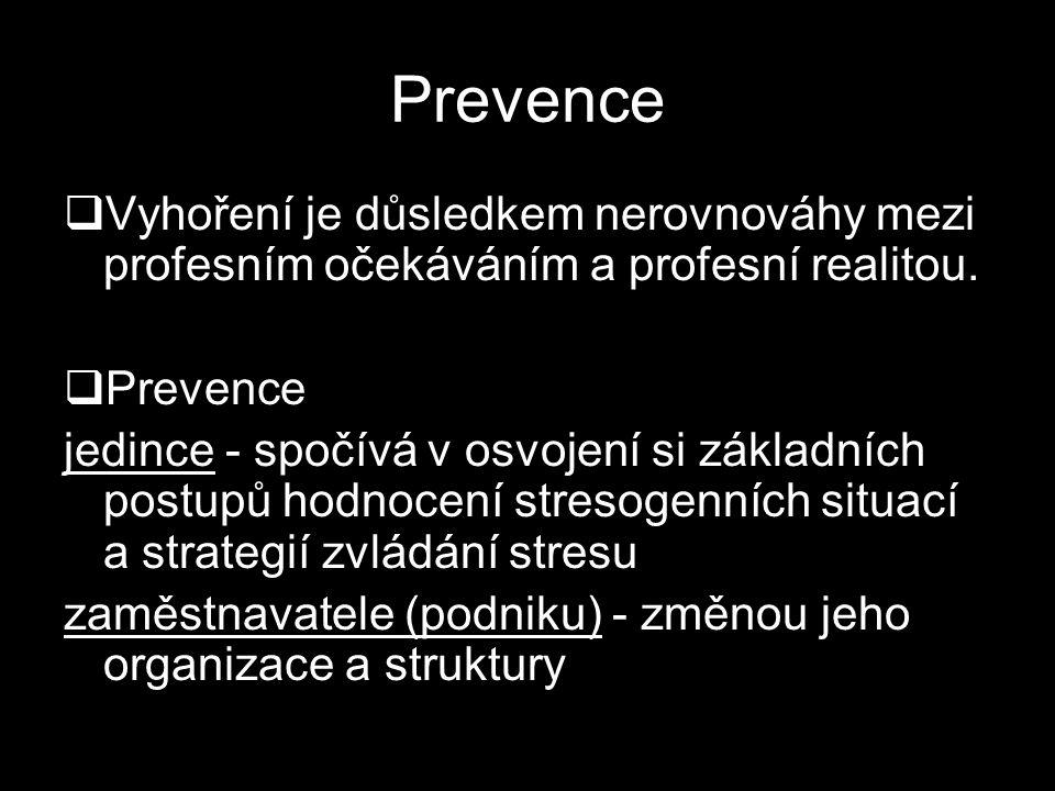 Prevence Vyhoření je důsledkem nerovnováhy mezi profesním očekáváním a profesní realitou. Prevence.