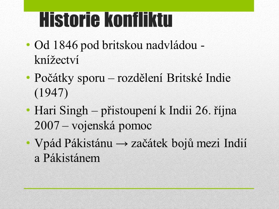 Historie konfliktu Od 1846 pod britskou nadvládou - knížectví