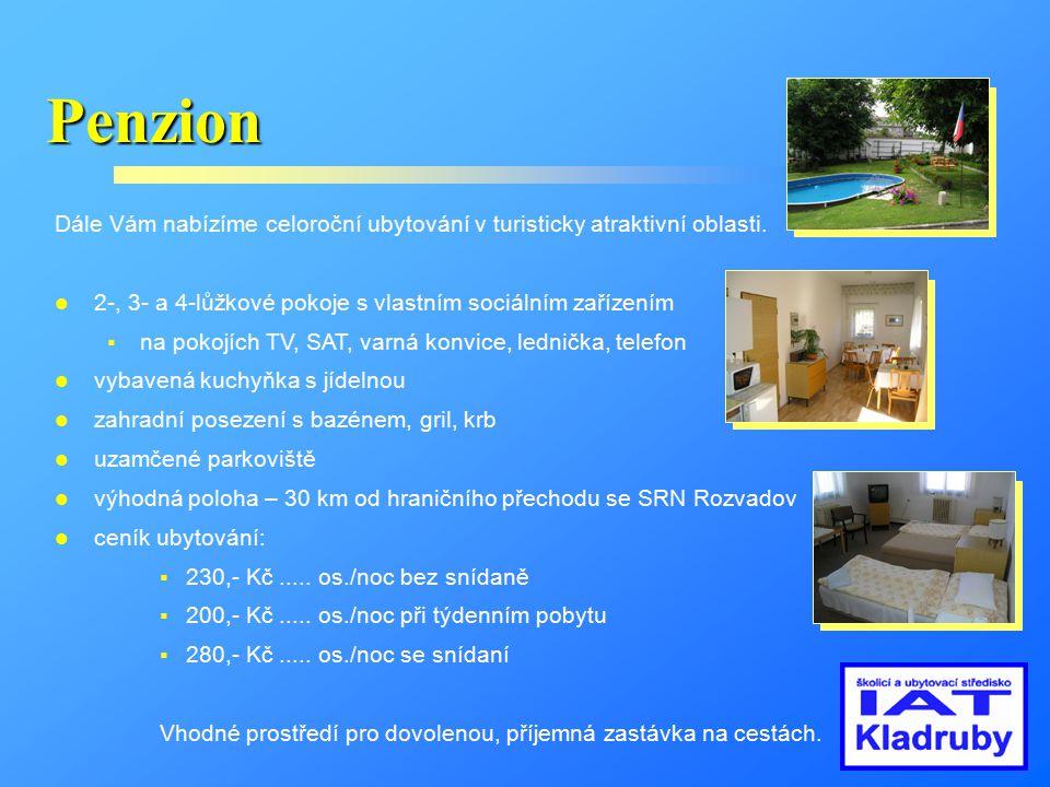 Penzion Dále Vám nabízíme celoroční ubytování v turisticky atraktivní oblasti. 2-, 3- a 4-lůžkové pokoje s vlastním sociálním zařízením.