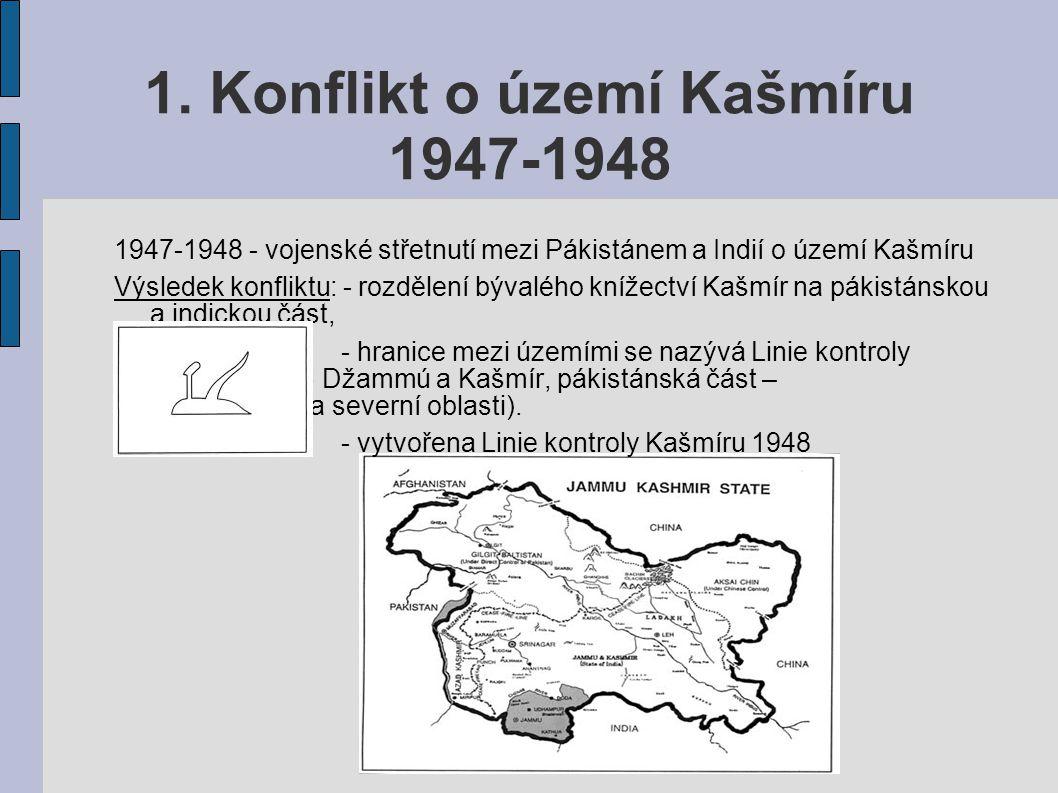 1. Konflikt o území Kašmíru 1947-1948