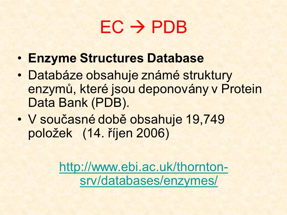 EC  PDB Enzyme Structures Database