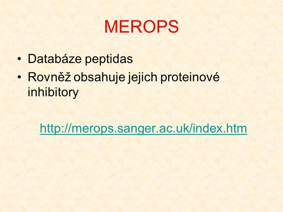 MEROPS Databáze peptidas Rovněž obsahuje jejich proteinové inhibitory