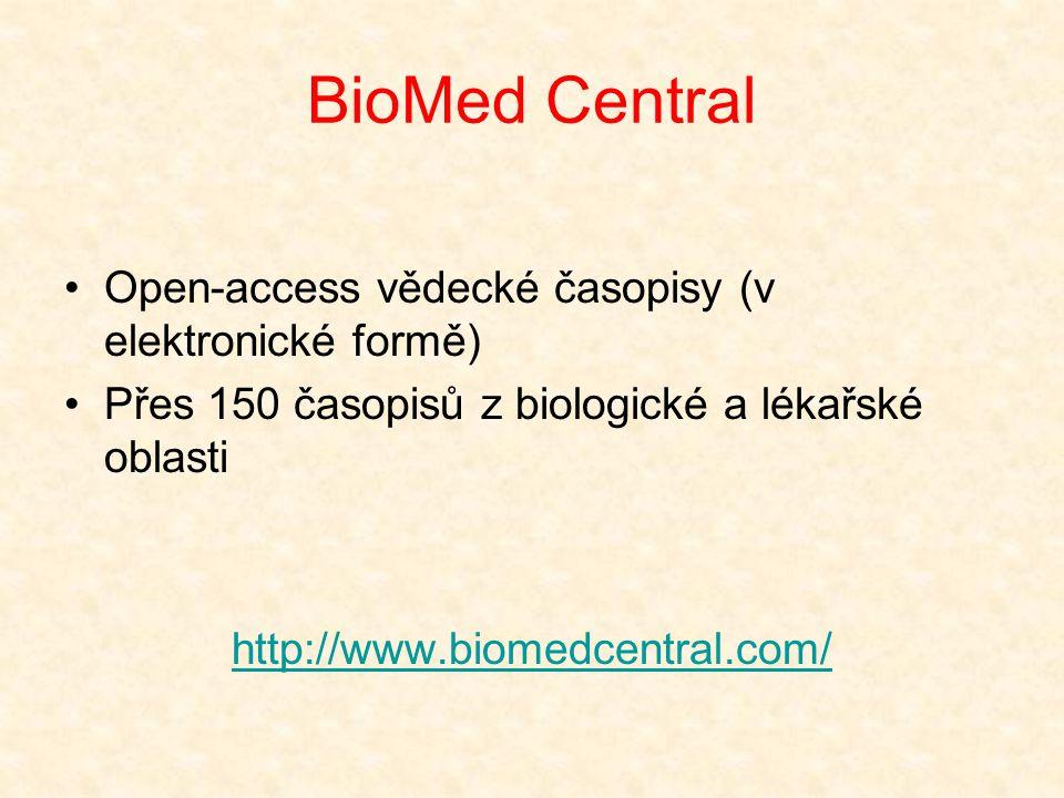 BioMed Central Open-access vědecké časopisy (v elektronické formě)