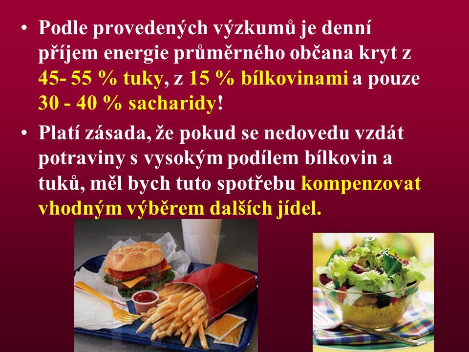 Podle provedených výzkumů je denní příjem energie průměrného občana kryt z 45- 55 % tuky, z 15 % bílkovinami a pouze 30 - 40 % sacharidy!