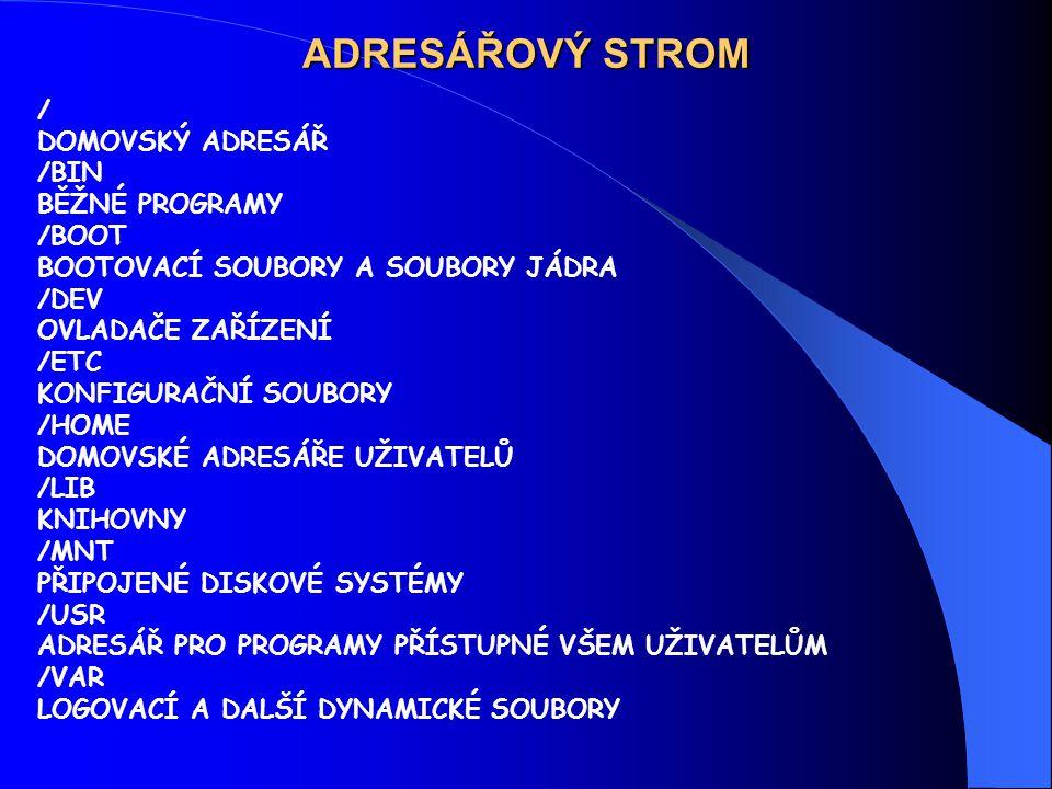 ADRESÁŘOVÝ STROM / DOMOVSKÝ ADRESÁŘ /BIN BĚŽNÉ PROGRAMY /BOOT