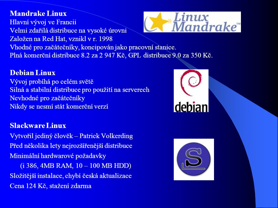 Mandrake Linux Debian Linux Slackware Linux Hlavní vývoj ve Francii