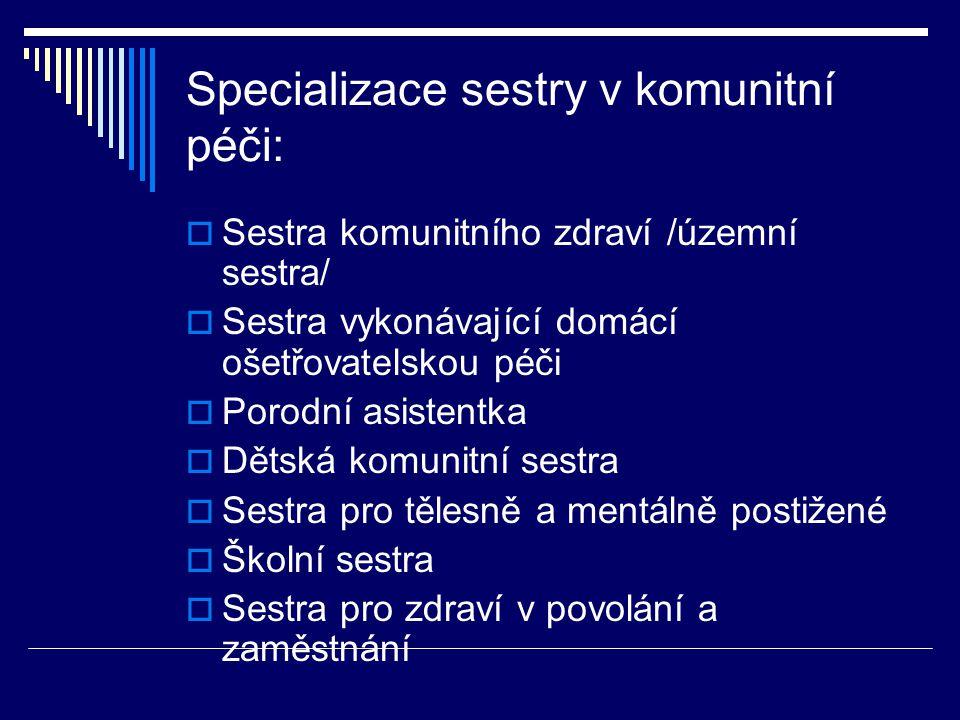 Specializace sestry v komunitní péči:
