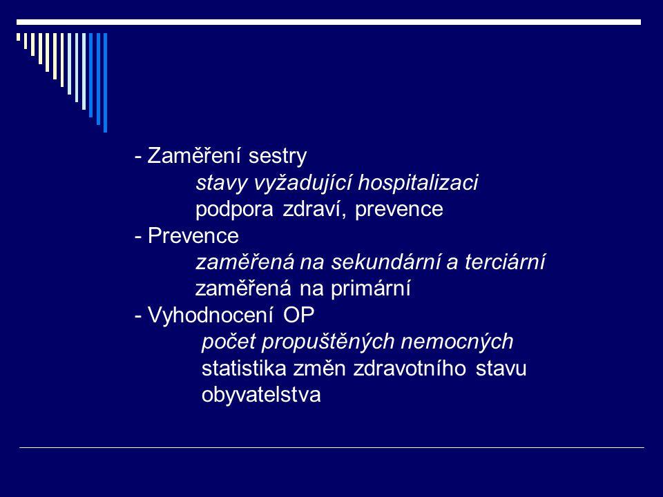 - Zaměření sestry stavy vyžadující hospitalizaci. podpora zdraví, prevence. - Prevence. zaměřená na sekundární a terciární.