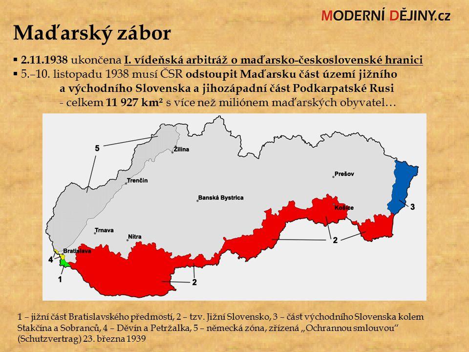 Maďarský zábor 2.11.1938 ukončena I. vídeňská arbitráž o maďarsko-československé hranici.