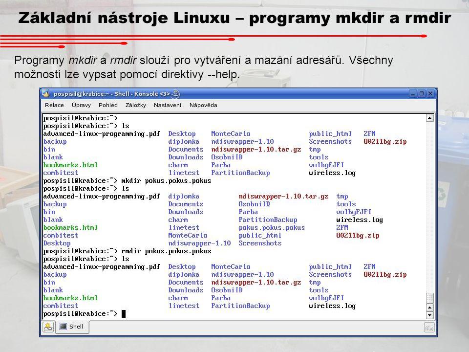Základní nástroje Linuxu – programy mkdir a rmdir