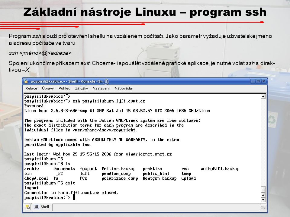 Základní nástroje Linuxu – program ssh
