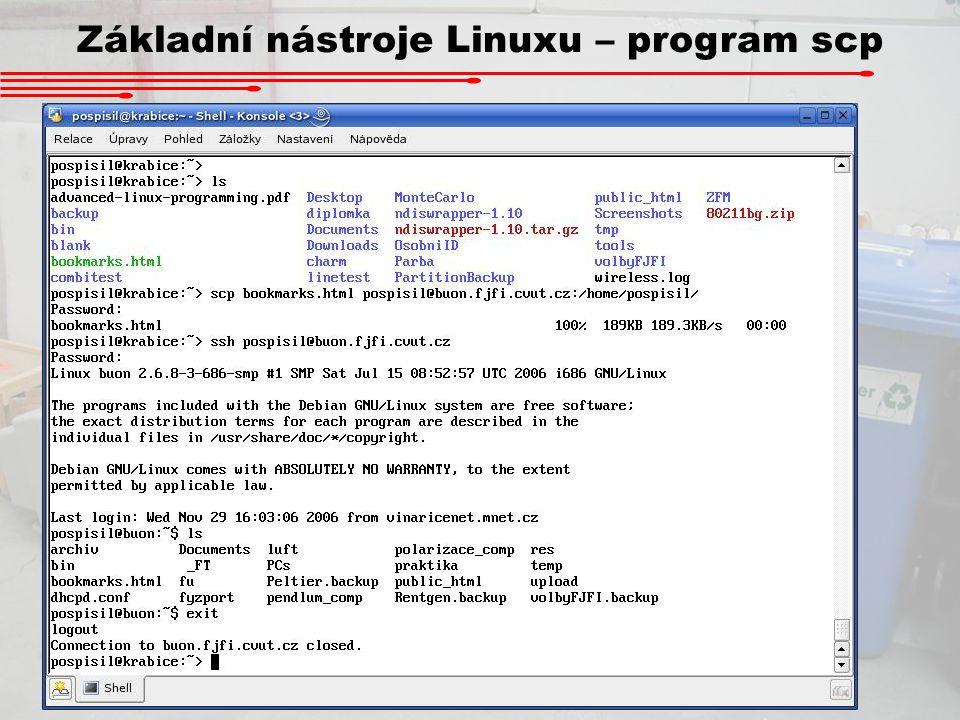 Základní nástroje Linuxu – program scp