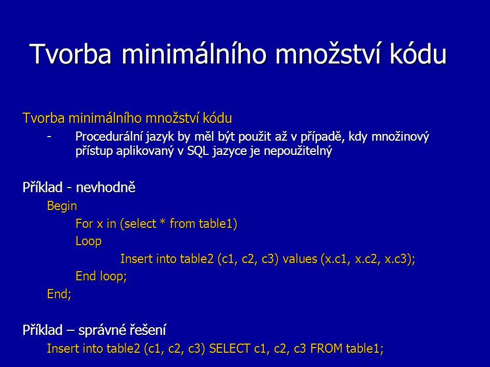 Tvorba minimálního množství kódu