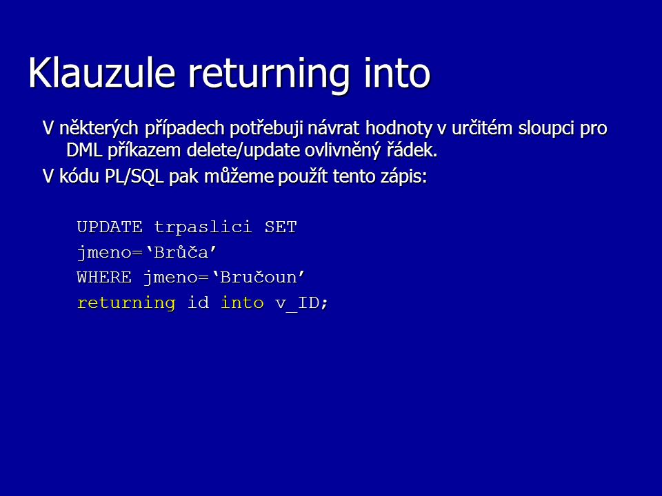 Klauzule returning into