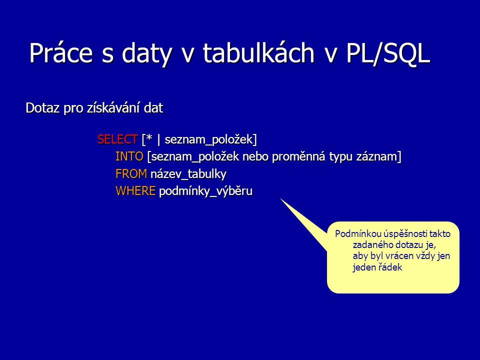Práce s daty v tabulkách v PL/SQL