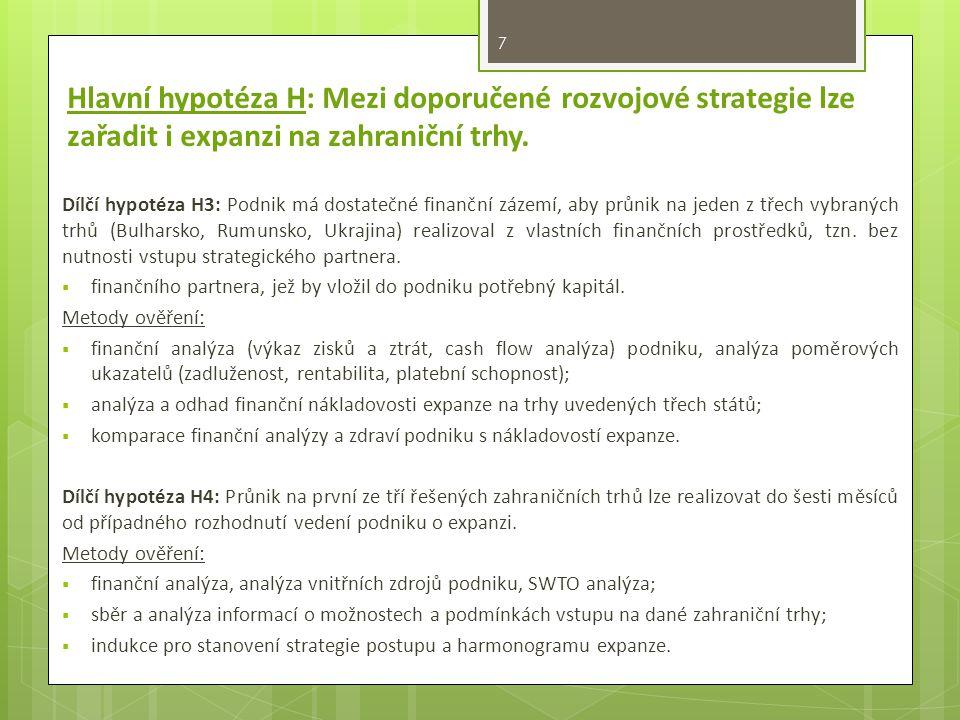 Hlavní hypotéza H: Mezi doporučené rozvojové strategie lze zařadit i expanzi na zahraniční trhy.