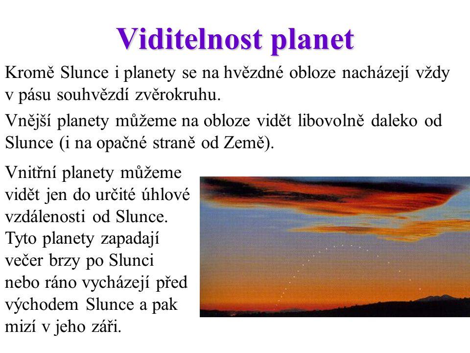 Viditelnost planet Kromě Slunce i planety se na hvězdné obloze nacházejí vždy v pásu souhvězdí zvěrokruhu.
