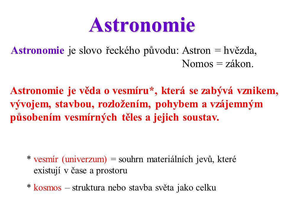 Astronomie Astronomie je slovo řeckého původu: Astron = hvězda, Nomos = zákon.