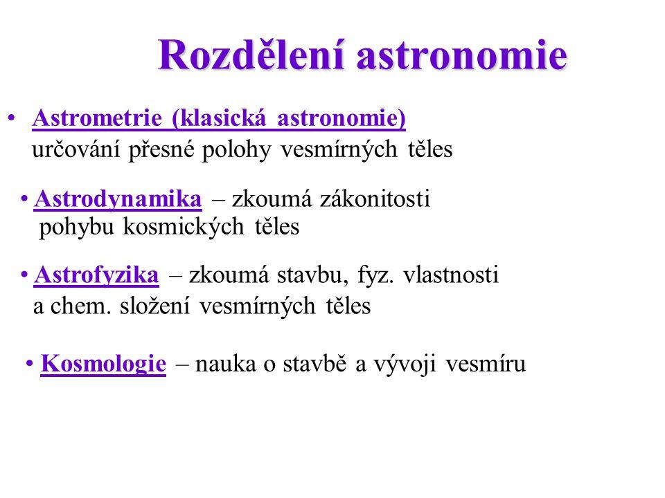 Rozdělení astronomie Astrometrie (klasická astronomie) určování přesné polohy vesmírných těles.