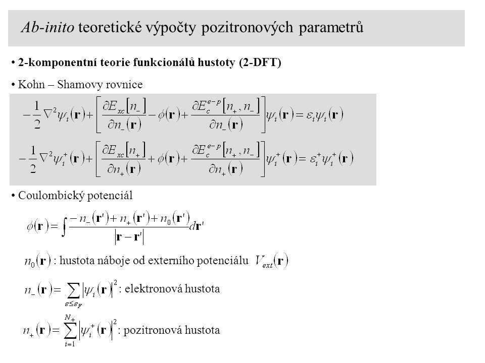 Ab-inito teoretické výpočty pozitronových parametrů