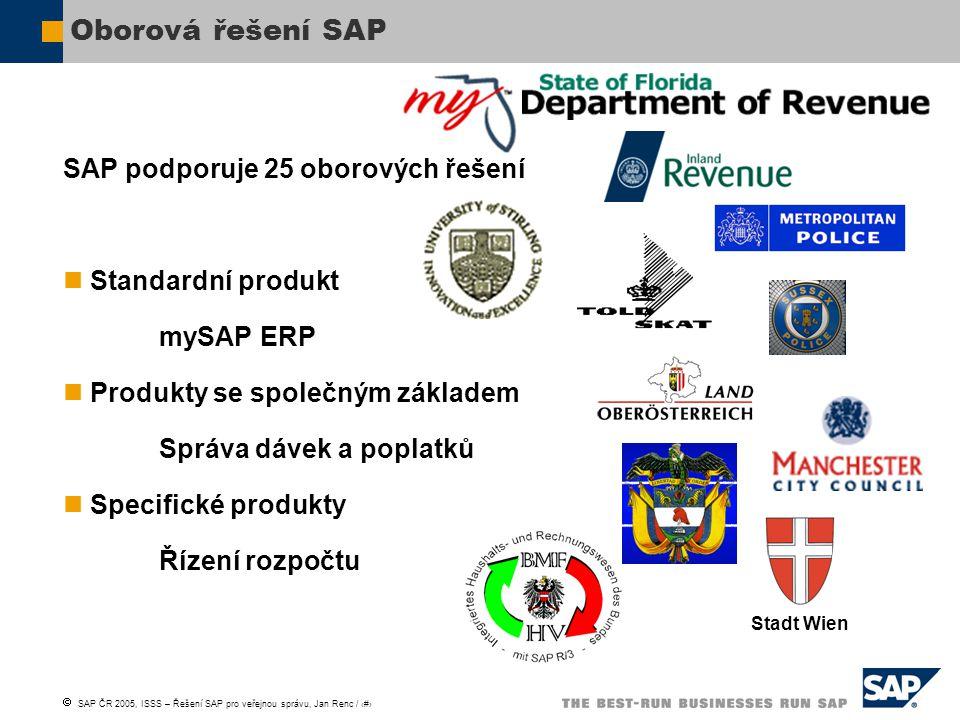 Oborová řešení SAP SAP podporuje 25 oborových řešení