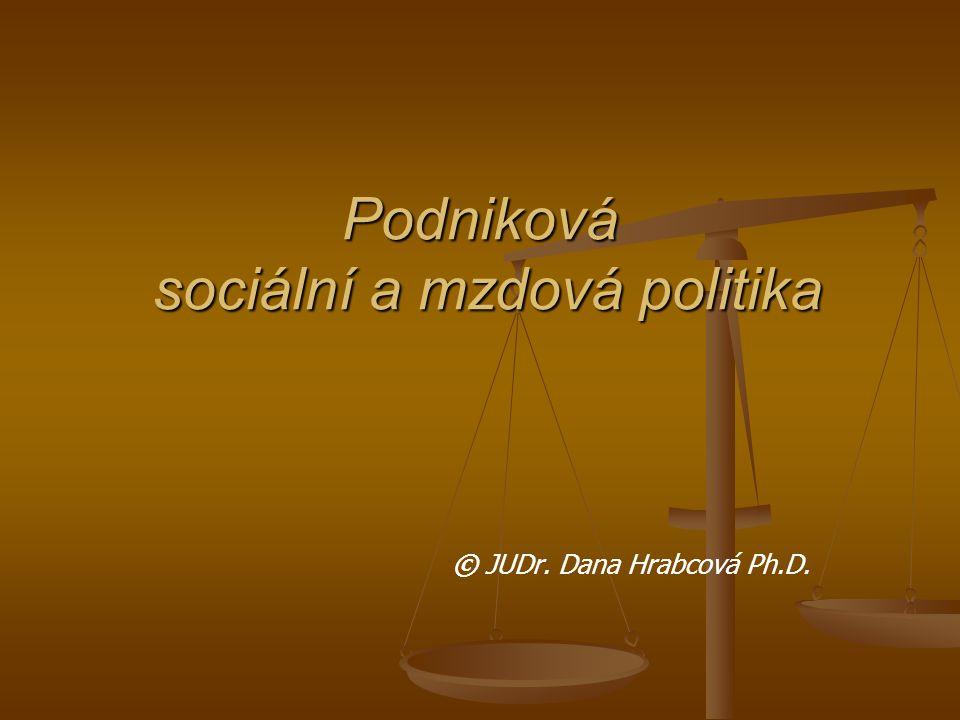 Podniková sociální a mzdová politika