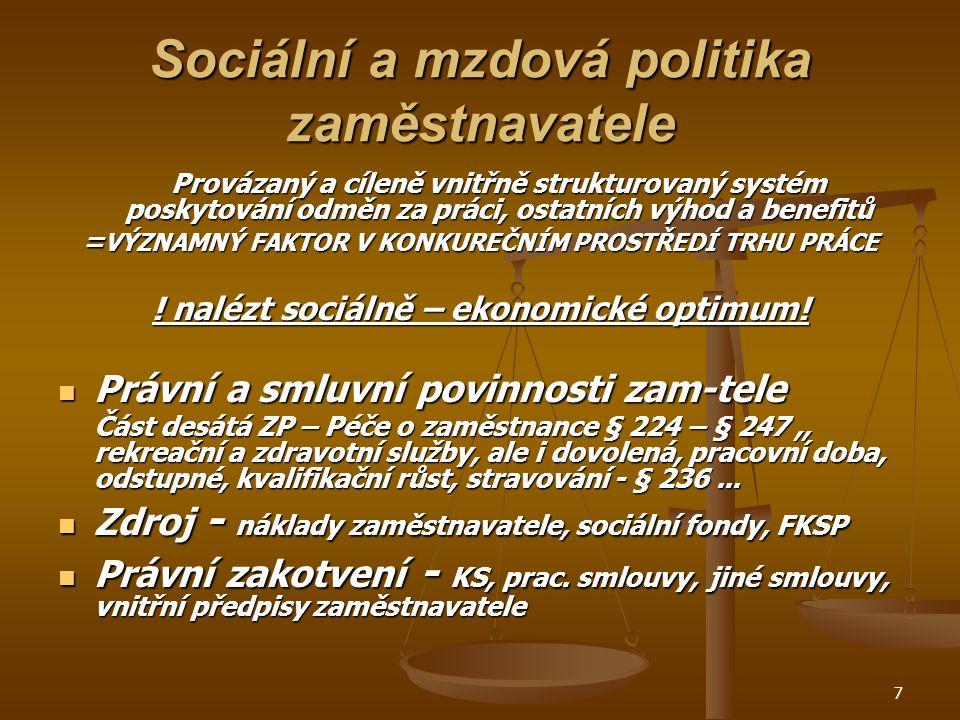 Sociální a mzdová politika zaměstnavatele