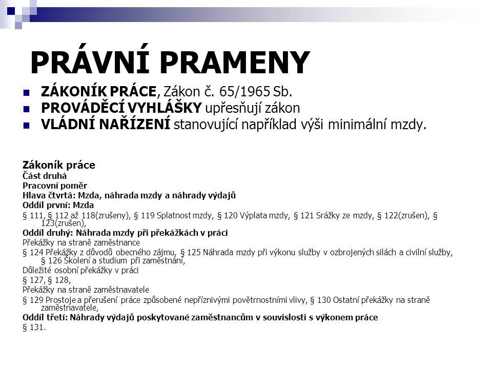 PRÁVNÍ PRAMENY ZÁKONÍK PRÁCE, Zákon č. 65/1965 Sb.