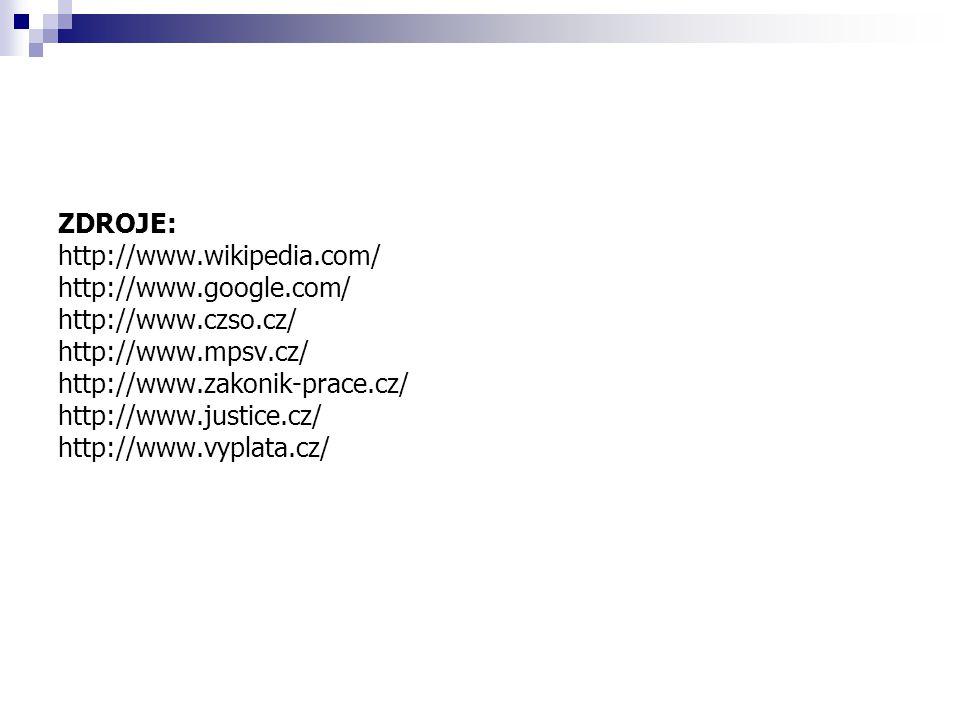 ZDROJE: http://www.wikipedia.com/ http://www.google.com/ http://www.czso.cz/ http://www.mpsv.cz/