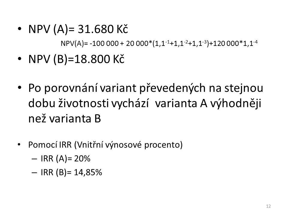 NPV (A)= 31.680 Kč NPV(A)= -100 000 + 20 000*(1,1-1+1,1-2+1,1-3)+120 000*1,1-4. NPV (B)=18.800 Kč.