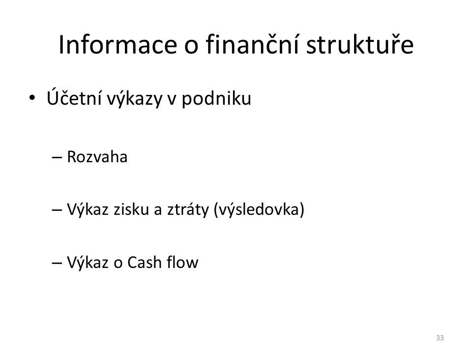 Informace o finanční struktuře